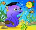 картинка с дельфином и рыбками